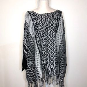 Black/White.Grey Poncho By  Jason maxwell